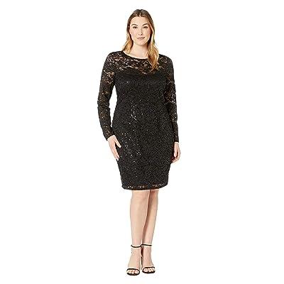 MARINA Plus Size Long Sleeve Glitter Sequin Stretch Lace Dress (Black) Women