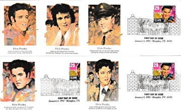 United States Scott 2721 29c Elvis Presley 1993 Memphis, TN 38101 Illustrated First Day of Issue. Set of Five Different Fleetwood cachets. Unaddressed.