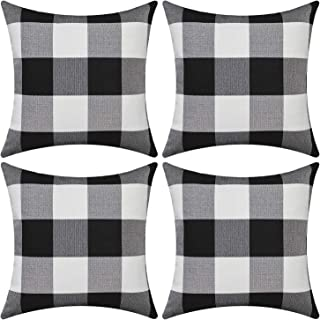 Gysan Buffalo Check Plaid Pillow Covers Set of 4 Black and White Throw Pillow Cases Decorative Cushion Cover Cotton Linen Farmhouse Home Decor for Couch Sofa Bed Car, 18 x 18 Inches