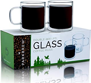 ParkBrew Double Walled Glass Mugs - Includes set of 2 coffee cups, 14. oz. Capacity with Double Wall Glass to Retain Heat in These Large Borosilicate Glass Coffee Mugs