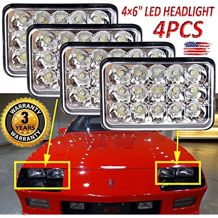 Amazon.com: 4PCS Rectangular 4X6'' LED Headlights For 1985-1992 Chevy  Camaro (Wiring/Plug Modification May Be Requred), High Beam/Low Beam Lights  H4651 H4652 H4656 H4666 H6545 Replacement Kit: Automotive | 1980 Ford Mustang Headlamp Wiring |  | Amazon.com
