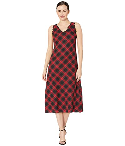 Vince Camuto Sleeveless Elegant Tartan Maxi Dress w/ Lace Trim (Rich Black) Women
