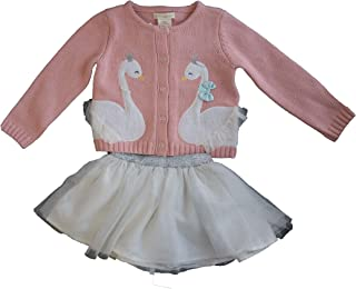 2Pc Set Swan Applique Cardigan Sweater and Tulle Skirt