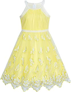 9665f44c950f Sunny Fashion Girls Dress Turquoise Butterfly Embroidered Halter Dress Party