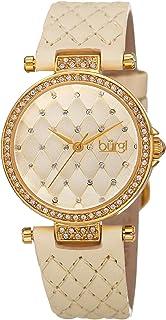 Burgi Womens Quartz Watch, Analog Display and Leather Strap BUR154BG-1
