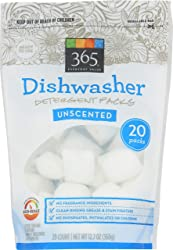 365 Everyday Value, Dishwasher Detergent Packs, Unscented, 20 ct (Packaging May Vary)