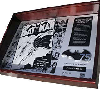 Fan Emblems Batman 75th Anniversary Limited Edition Metal Collector Plaque in Timber Display Case with Certificate of Authenticity