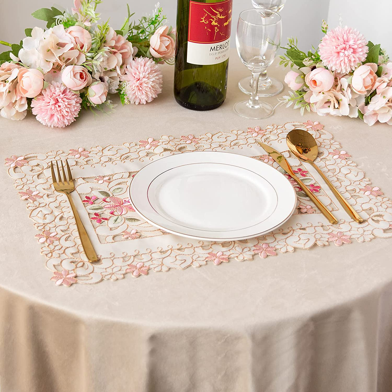 Tayis Cloth Placemats Set of 6 , Cutwork Embroidered Floral Flower Dresser Scarf for Home Kitchen Dining Tabletop Christmas Decoration (Pattern 7, 11.8