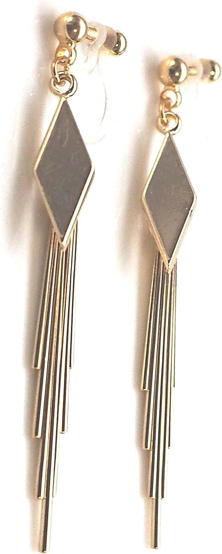 Miyabi Grace Elegant Diamond Shape Invisible Clip On Earrings Dangle Women Non Pierced Clip On Fringe Earrings
