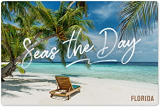 Florida - Seas The Day - Beach Lounger and Palms 90503 (6x9 Aluminum Wall Sign, Wall Decor Ready to Hang)