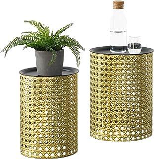 Lot de 2 Tables Basses Rondes Design pour Salon avec Plateaux Amovibles Meubles Stylés en Métal Différentes Tailles Noir Doré