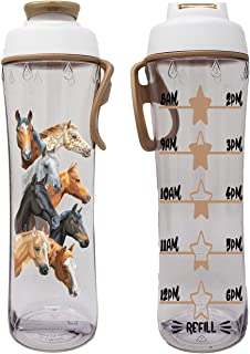 50 Strong BPA-free Water Bottle for Kids with Time Markers, Chug Cap and Carry Loop, 24 Oun (Horses)