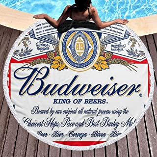 Wdxtong Budweiser Beer Logo Thick Round Beach Towel Soft Picnic Tablecloth with Tassels Ultra Water Absorbent Towel