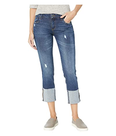 KUT from the Kloth Bella Straight Leg Jeans w/ Wide Cuff in Valor w/ Dark Stone Base Wash (Valor w/ Dark Stone Base Wash) Women