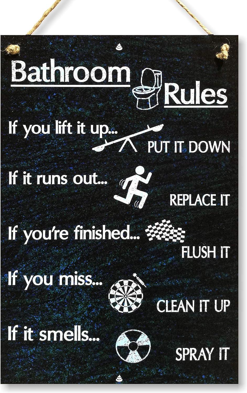 CARISPIBET Bathroom Rules | Bathroom signs, home decorative plaque humoristic & quirky 12