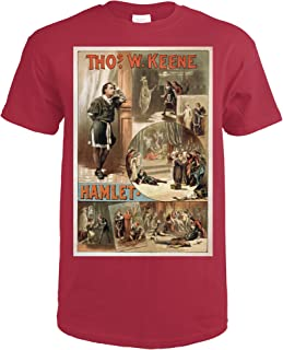 William Shakespeare Hamlet Theatre Poster 4277 (Cardinal Red T-Shirt X-Large)