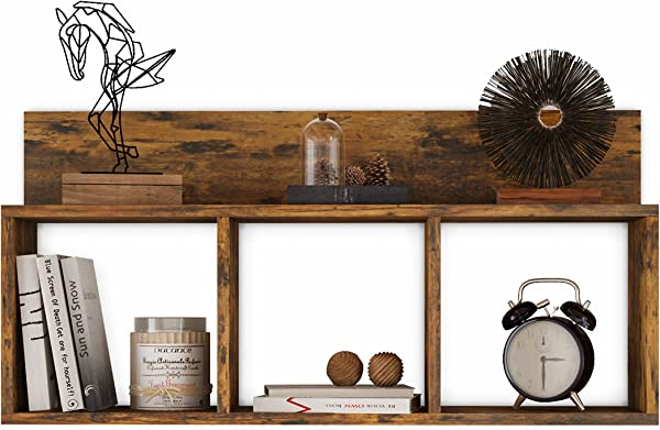 Danya B XF170517PI Rustic Triple Cubed Floating Shelf With Ledge Easy To Hang Wall Mount Cubbie Shelf Aged Wood