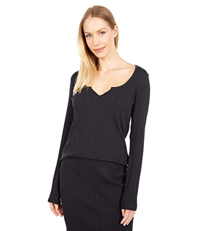 PACT Organic Cotton Ribbed Notched Neck Long Sleeve Top (Black) Women