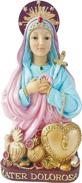 Santo MATER DOLOROSA Statue Pink Color Mater Dolorosa Estatua 11 Inch
