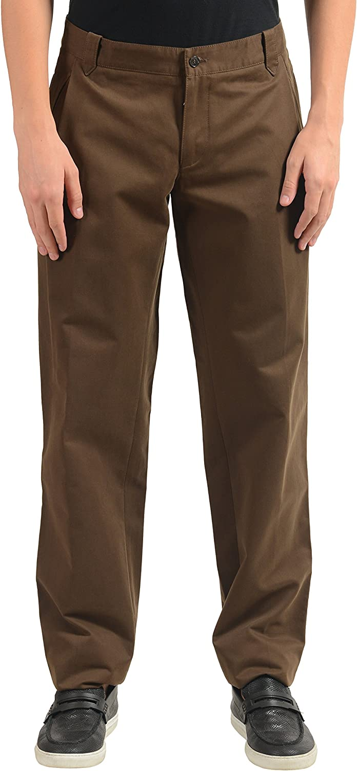 Dolce & Gabbana Men's Brown Pleated Casual Pants US 32 IT 48