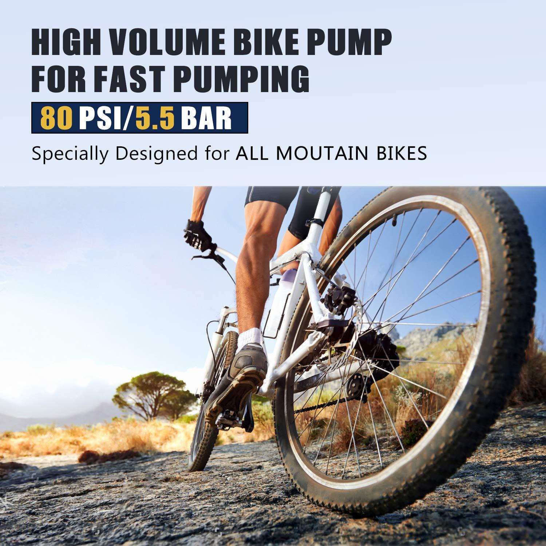 VGEBY Bicicleta Bomba de Mano Mini port/átil de Alta presi/ón Bicicleta ergon/ómica Bomba de Piso Inflador de neum/áticos Inflable Bomba de Aire Man/ómetro para Bicicleta Bicicleta de monta/ña