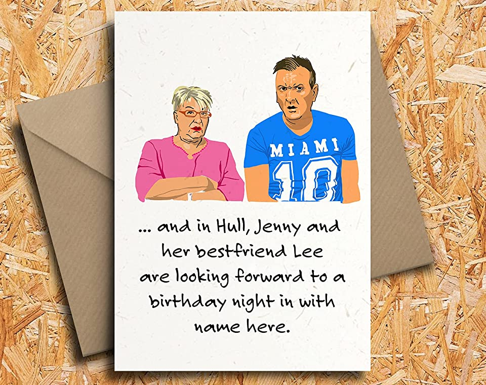 Gogglebox Jenny and Lee Personalised Birthday Card Fan Art Friday TV, by Blind Eye Design