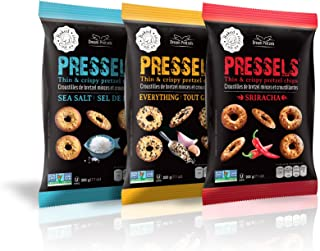 Pressels Baked Pretzel Chips – Non-GMO, Low-Calorie, Vegan, Kosher – Less Fat & Sodium Than Ordinary Chip – Thin, Crispy, Tasty Mini Pretzel Snack Bags Sriracha/Sea Salt/Everything, 7.1 Oz, 3- Pack