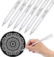 6 Piezas de Bolígrafo Blanco para Artistas Papeles Oscuros Dibujo Ilustración Arte Diseño Materiales, 0,8 mm de Punta Fina Bolígrafo de Gel Dorado Plateado Blanco Bolígrafos de Bosquejo de Subrayar