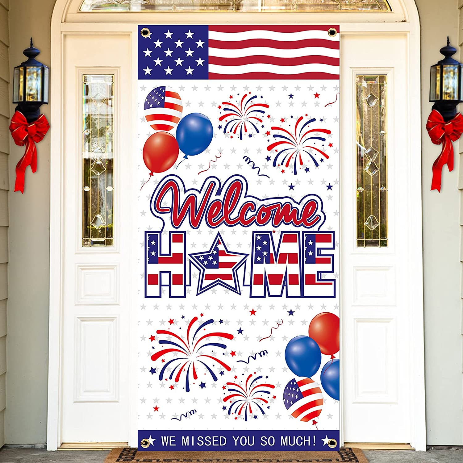 Welcome Home Door Banner Decorations, Patriotic Party Deployment Returning Door Cover Sign Supplies, Military Army Homecoming Party Door Backdrop Décor