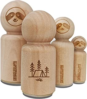Simple Tent Camping in Woods Rubber Stamp for Stamping Crafting Planners - 1/2 Inch Mini