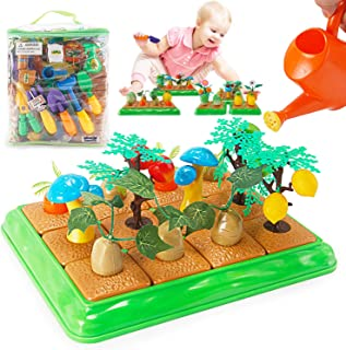 Grow Your Own Little Garden Toy Building Playset - Growing Vegetables Farming Educational Activity for Kids - Includes Plastic Gardening Tools, Crops, Fruits, and Accessories (96 Pieces)