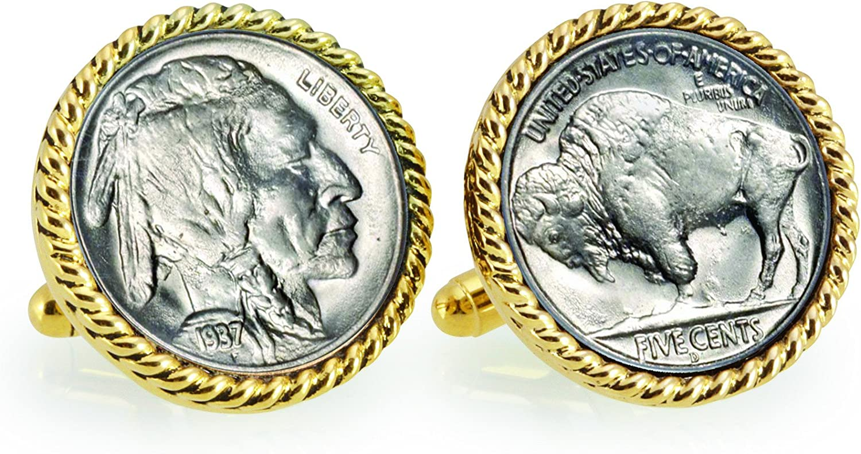 American Coin Treasures Buffalo Nickel Rope Bezel Cuff Links