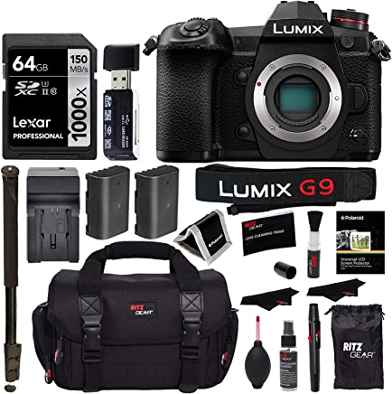"$1197 Get Panasonic Lumix G9 Mirrorless Camera Body 20.3 MP G9KBODY, Lexar 64GB High Speed SD Card U3, Polaroid 72"" Monopod, Spare Battery, Battery Charger, Ritz Gear Cleaning Kit and Accessory Bundle"