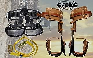 Evoke Gear Tree Climbing Spike Set Pole Spurs Climber Adjustable with Pro Harness