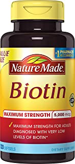 Nature Made Max Strength: Biotin (B7) 5000 mcg. Softgels Value Size 120 Ct