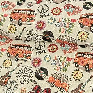 Gobelin Stoff Hippie-Party orange Polsterstoffe Dekorationen Transporter Peace Blumen - Preis Gilt für 0,5 Meter -
