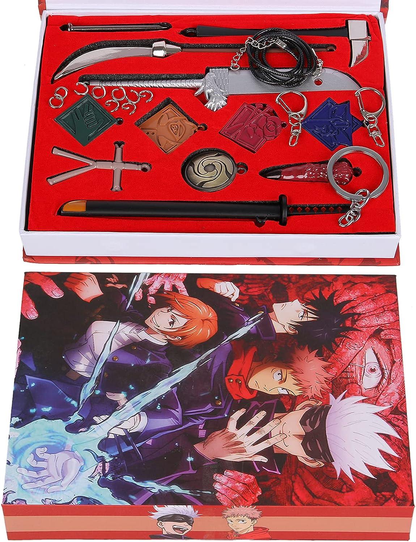 8pcs/12pcs Jujutsu Kaisen Gojo Satoru Pendant Keychain Necklace Set Anime Cosplay Model Keyrings Props wiith Box and Eye Blinder
