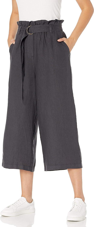 The Drop Women's Laurel Loose Wide Leg Cropped Belted Linen Culotte Pant