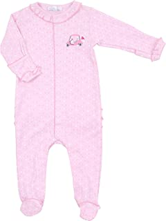 Magnolia Baby Baby Girl Ballet Dreams Embroidered Collared Footie Pink