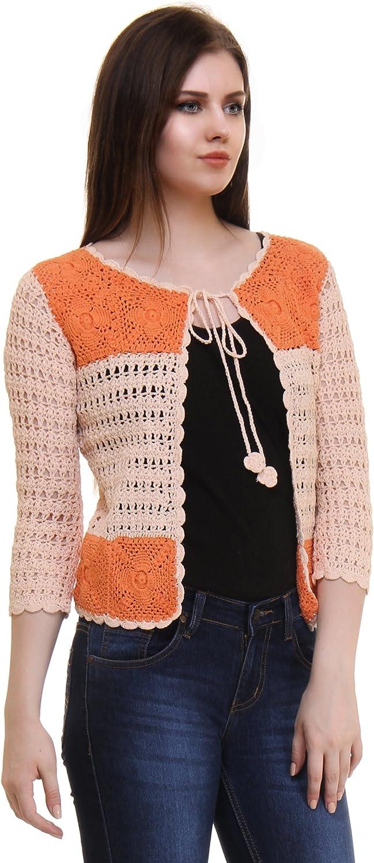 The Crochet Company Women's Handmade Cotton Crochet Shrug Cardigan Top