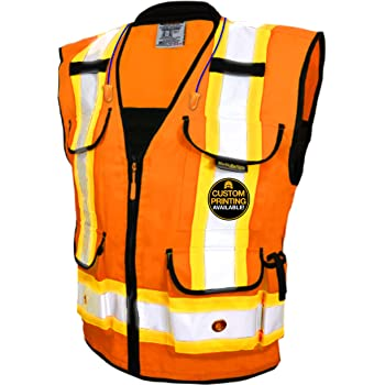 Majestic Glove 75-3208 Fabric High Visibility Heavy Duty Mesh Vest with Snap Closure Orange 75-3208-L Large