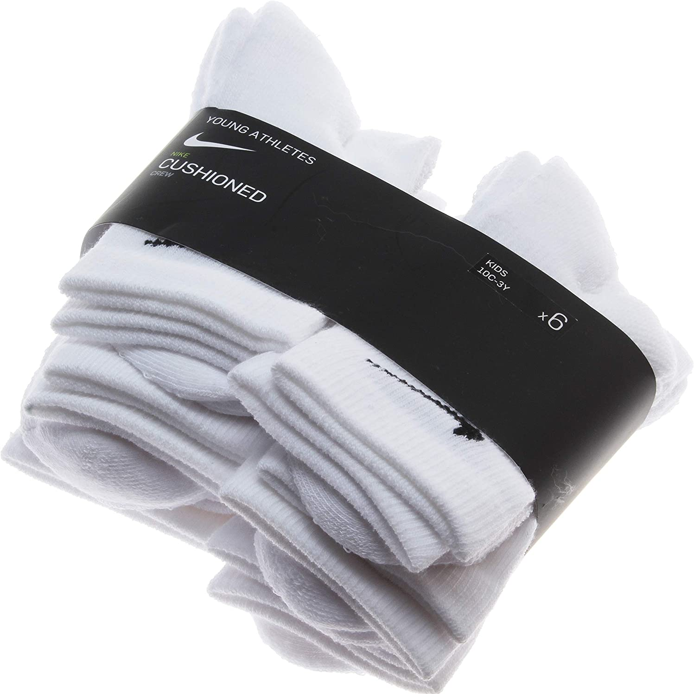 Nike 6 Pairs Young Athletes Cushioned Crew Socks; White (5-7)