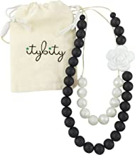 Teething Necklace for Mom, Silicone Teething Beads, 100% BPA Free (Black/White/Pearl)