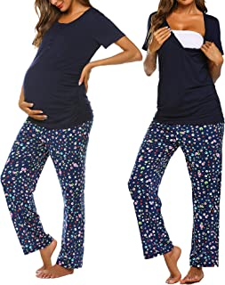 Ekouaer Women's Maternity Nursing Pajamas Sets...