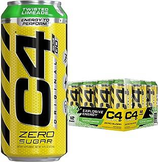 Cellucor C4オリジナル 炭酸入りノンシュガーエナジードリンク、プレワークアウトドリンク+ベータアラニン、スパークリング・ツイステッド・ライムエード、473ml(16液量オンス)入り缶(12缶パック) ビタミン剤