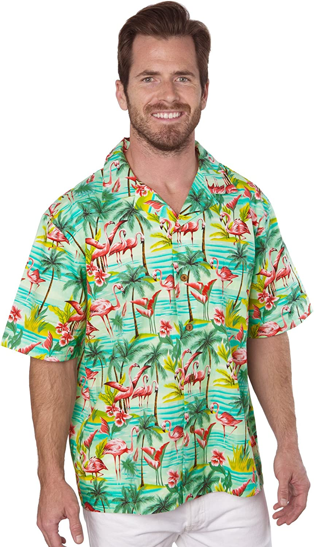 Benny's Mens Flamingos Hawaiian Shirt (L Sage)