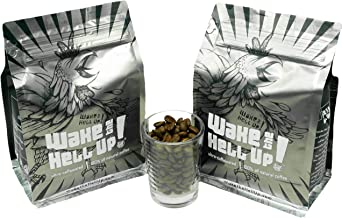 Wake The Hell Up! Ground Coffee | Ultra-Caffeinated Medium-Dark Roast Coffee In (2) 12-Ounce Reclosable Bags | The Perfect Balance of Higher Caffeine & Great Flavor | Roasted and Packed In-House.