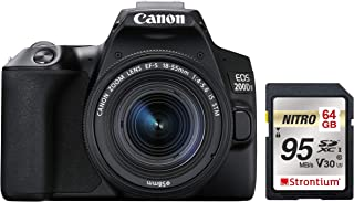 Canon EOS 200D II 24.1MP Digital SLR Camera + EF-S 18-55mm f4 is STM Lens (Black) + Strontium Extreme 64GB SD Card