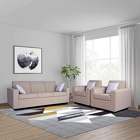 Adorn India Sal Monteno 3-1-1 - 5 Seater Wooden Sofa Set (Beige)