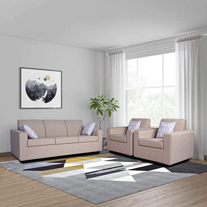 Adorn India Sal Monteno 3 1 1   5 Seater Wooden Sofa Set  Beige  Sofa Sets